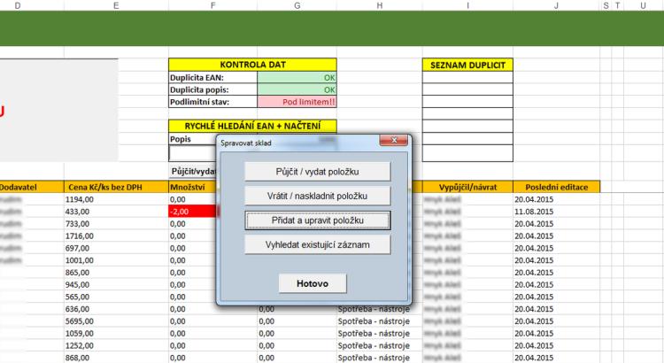 Excelovská správa skladu